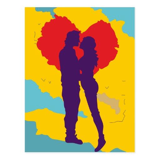 Pareja de enamorados ama love couple tarjeta postal