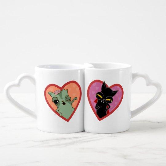 Pareja de tazas de gato zombi y Drácula