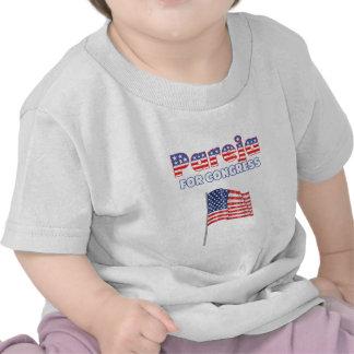 Pareja para el diseño patriótico de la bandera ame camisetas