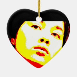 Parentescos maníacos 6 adorno navideño de cerámica en forma de corazón