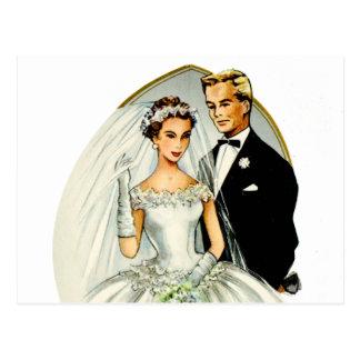 Pares casados retros de la boda 50s del vintage postales