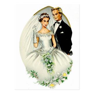 Pares casados retros de la boda 50s del vintage tarjeta postal