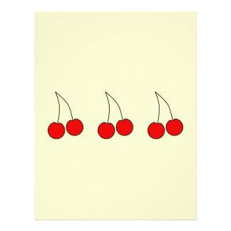 Pares de cerezas rojas. Esquema negro Tarjetón