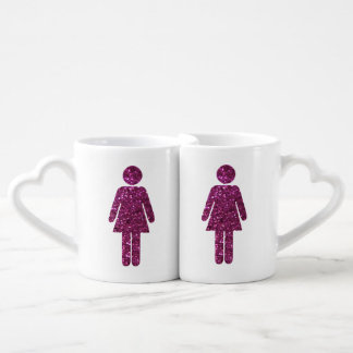 Pares de la hembra del brillo set de tazas de café