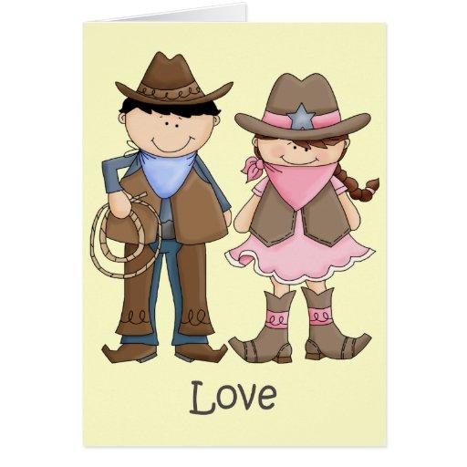 Pares de la vaquera y del vaquero en amor tarjetas