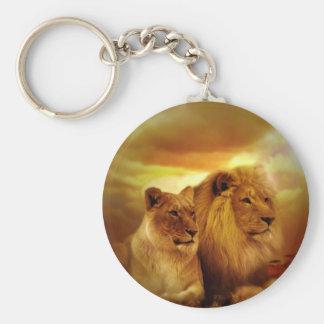 Pares de los leones llavero redondo tipo chapa