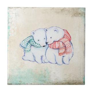 Pares de los osos polares del dibujo animado azulejo cuadrado pequeño