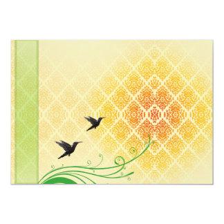 Pares de pájaros negros hermosos en vuelo invitación 12,7 x 17,8 cm