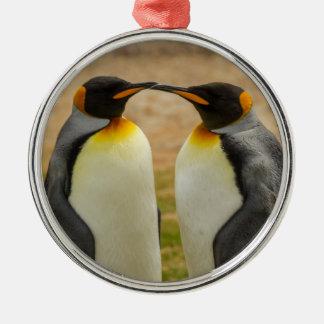 Pares de rey pingüinos, Malvinas Adorno Navideño Redondo De Metal