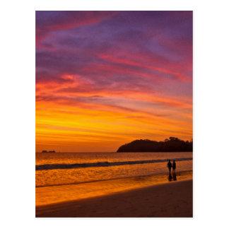Pares de Rican de la costa en la puesta del sol Postal