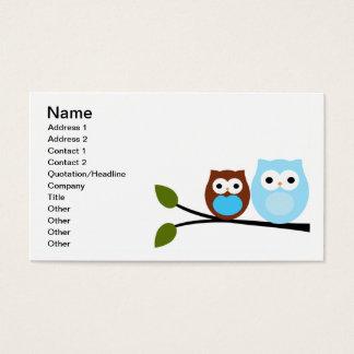 Pares de tarjetas de visita de los búhos