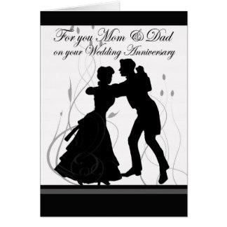 Pares del baile de la mamá y del papá del tarjeta de felicitación