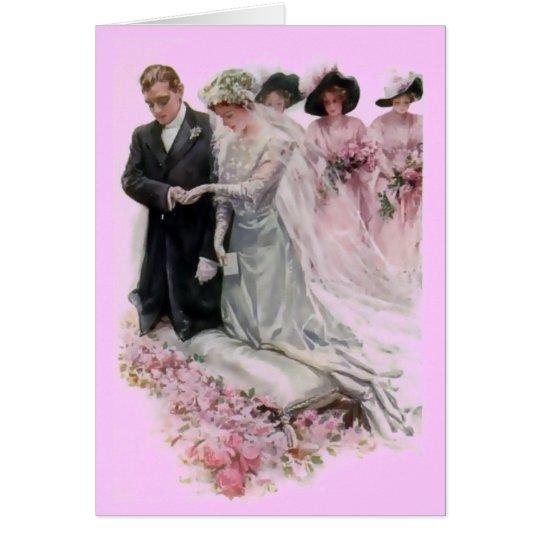 Pares del boda del vintage tarjeta de felicitación