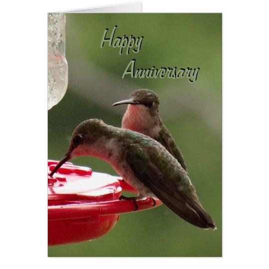 Pares del colibrí en alimentador cualquier ocasión tarjeta de felicitación