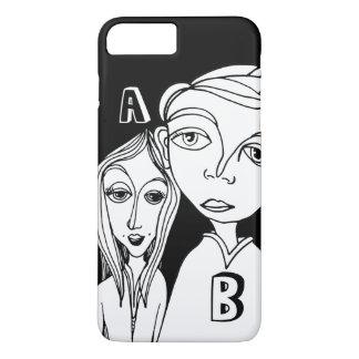 Pares del Doodle y dos letras personalizadas Funda Para iPhone 8 Plus/7 Plus