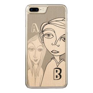 Pares del Doodle y dos letras personalizadas Funda Para iPhone 8 Plus/7 Plus De Carved