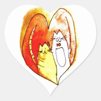 Pares del gatito pegatina en forma de corazón