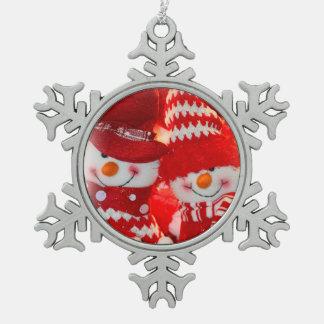 Pares del ornamento/del muñeco de nieve del copo adorno de peltre en forma de copo de nieve