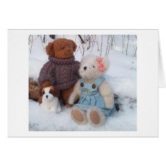Pares del peluche del invierno con el perrito tarjeta de felicitación