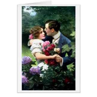 Pares del Victorian en la postal del jardín Tarjeta Pequeña