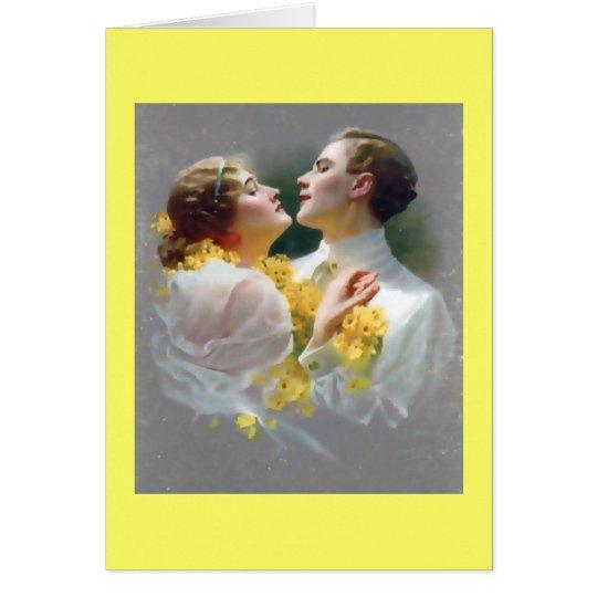 Pares del vintage en amor tarjeta de felicitación