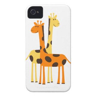 Pares divertidos lindos de la jirafa iPhone 4 Case-Mate protector