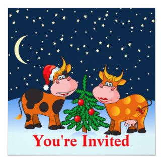 Pares dulces de la vaca de las Felices Navidad por Invitación 13,3 Cm X 13,3cm
