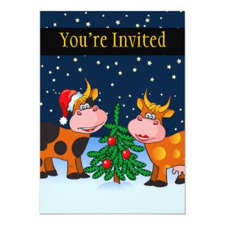 Pares dulces de la vaca de las Felices Navidad por Invitación 12,7 X 17,8 Cm