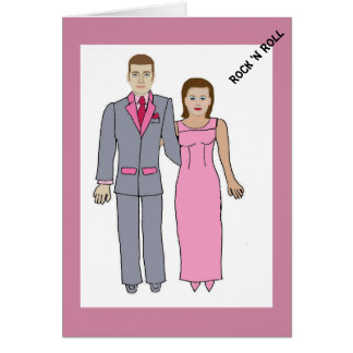 Pares elegantes de los años 50 tarjeta de felicitación