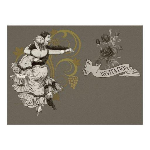 Pares españoles del baile - el vintage invita comunicado personalizado
