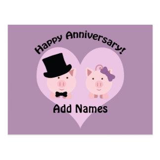 Pares felices del cerdo del aniversario postal