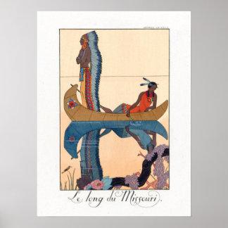 pares indígenas en una canoa póster