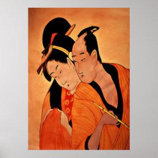 Pares japoneses tradicionales en naranja poster