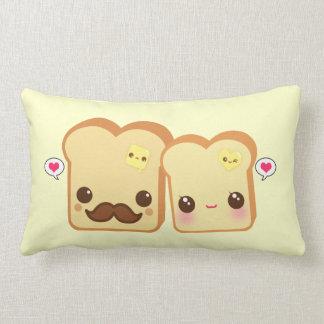 Pares lindos de las tostadas de Kawaii Cojín Lumbar