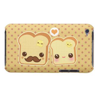 Pares lindos de las tostadas de Kawaii Barely There iPod Protectores