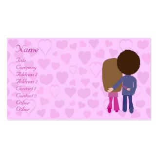 Pares y corazones lindos del dibujo animado que tarjetas de visita