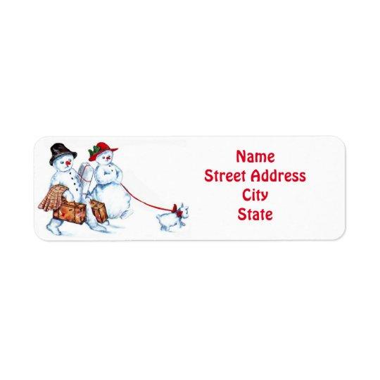 Pares y perro del muñeco de nieve etiqueta de remitente