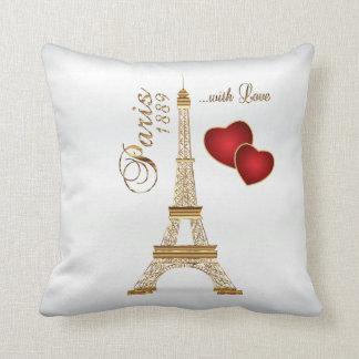 París con amor en oro metálico y el satén blanco cojín decorativo