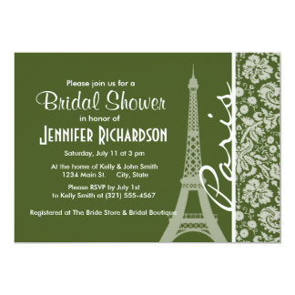 París; Damasco oscuro del verde de musgo Invitación 12,7 X 17,8 Cm