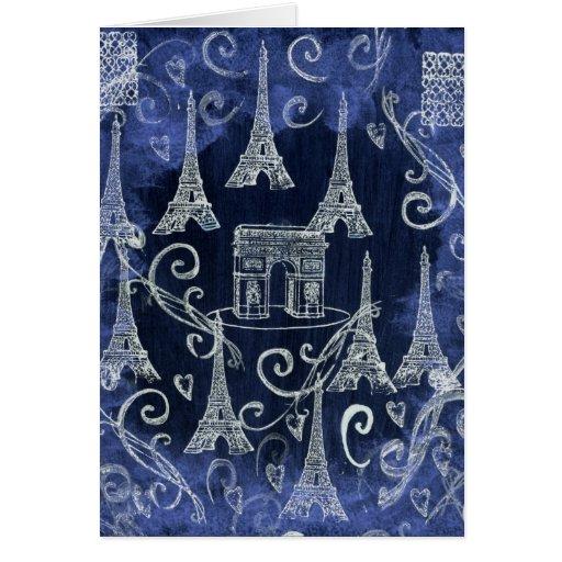 París diseño blanco y azul de Francia del adorno Tarjetas