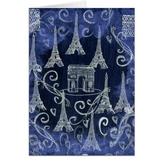 París diseño blanco y azul de Francia del adorno Tarjeta De Felicitación