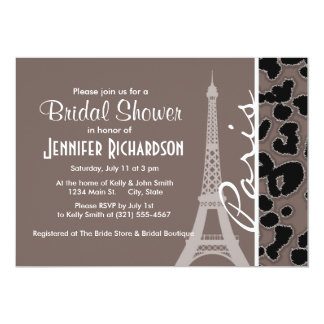 París; Estampado de animales de color topo Invitación 12,7 X 17,8 Cm