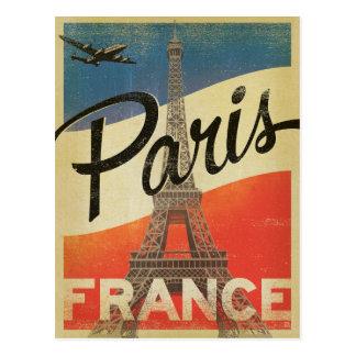 París, Francia - bandera Postal