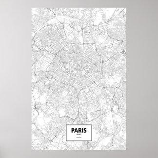 París, Francia (negro en blanco) Póster