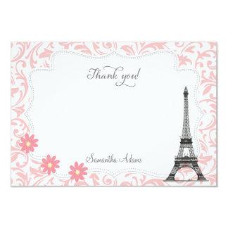 París le agradece cardar (el rosa) invitación 8,9 x 12,7 cm