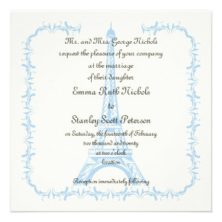 París que casa la invitación azul de la marfil de