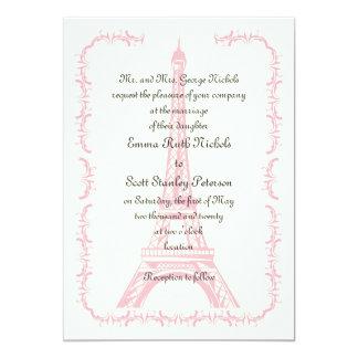 París que casa la invitación rosada de la marfil