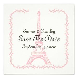 París que casa reserva rosada de la torre Eiffel l Invitación Personalizada