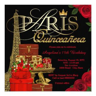 París Quinceanera Invitación 13,3 Cm X 13,3cm
