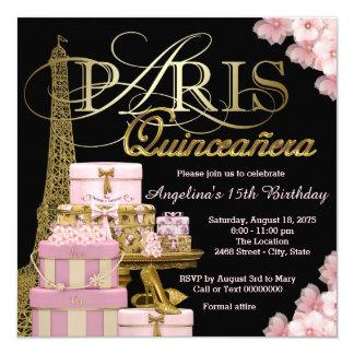París rosada Quinceanera Invitación 13,3 Cm X 13,3cm